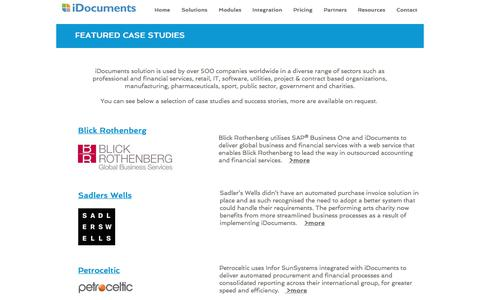 Screenshot of Case Studies Page idocuments.co.uk - iDocuments Case Studies - captured July 7, 2018