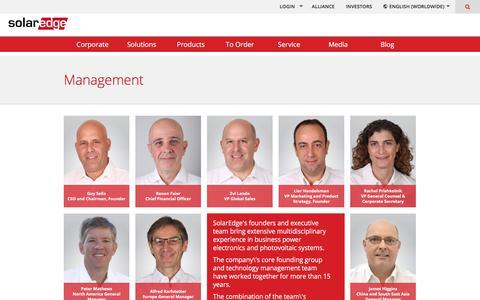 Screenshot of Team Page solaredge.com - Management | SolarEdge - captured April 30, 2018
