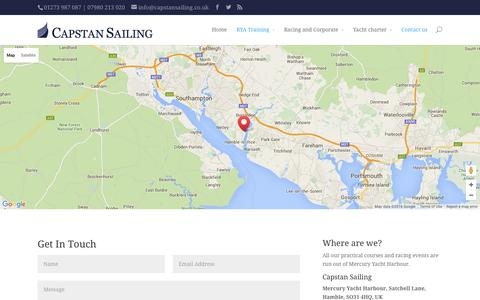 Screenshot of Contact Page capstansailing.co.uk - Contact us and travel directions | Capstan Sailing - captured Jan. 25, 2016