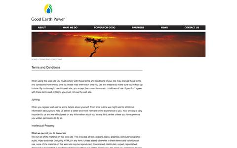 Screenshot of Terms Page goodearthpower.com - Good Earth Power - captured Sept. 30, 2014