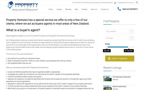 Screenshot of Services Page propertyventures.co.nz - One on One Buyers Agency - captured July 18, 2016