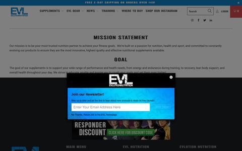 Screenshot of About Page evlnutrition.com - About EVL - EVLUTION NUTRITION - captured Sept. 22, 2018