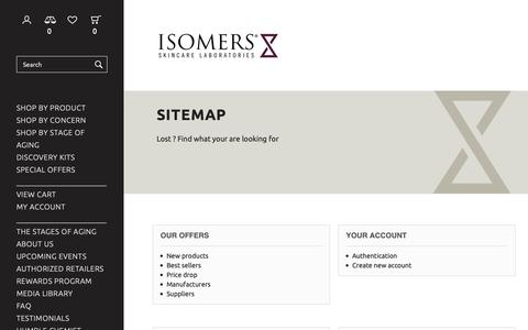 Screenshot of Site Map Page isomers.ca - Sitemap - Isomers Laboratories Inc - captured Dec. 19, 2018