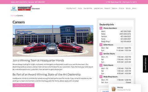 Screenshot of Jobs Page headquarterhonda.com - Honda Dealership Automotive Jobs | Headquarter Honda - captured Oct. 26, 2019
