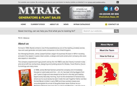 Screenshot of About Page myrak.com - Myrak Generators & Plant Sales - About us - captured July 27, 2018