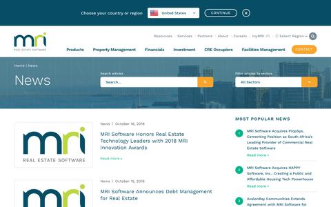 Screenshot of Press Page mrisoftware.com - News - MRI Software | NZ - captured Oct. 18, 2018