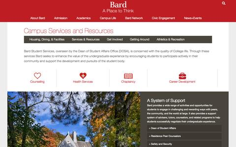 Screenshot of Services Page bard.edu - Bard College Campus Services and Resources - captured Oct. 2, 2015
