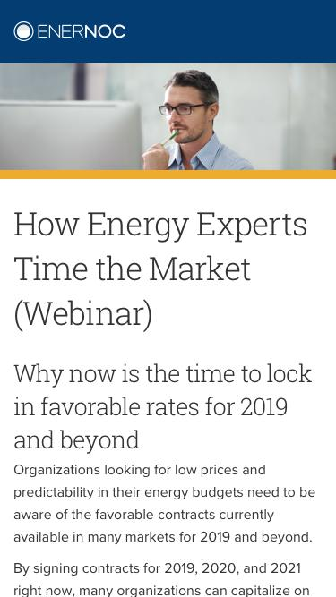 How Energy Experts Time the Market (Webinar) | EnerNOC