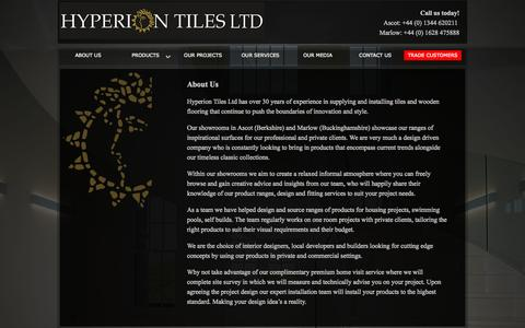 Screenshot of About Page hyperiontiles.co.uk - Welcome to Hyperion Tiles - captured Sept. 30, 2014