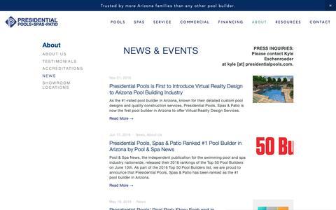 Screenshot of Press Page presidentialpools.com - Presidential Pools, Spas & Patio News & Events — Presidential Pools, Spas & Patio of Arizona - captured Feb. 21, 2019