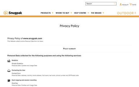 Screenshot of Privacy Page snugpak.com - Privacy Policy - captured Sept. 22, 2018