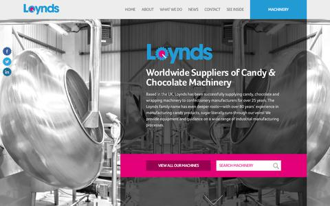 Screenshot of Home Page loynds.com - Loynds • Worldwide Suppliers of Candy & Chocolate Machinery - captured Sept. 30, 2018