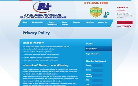 Screenshot of Privacy Page aplusac.com - Privacy Policy | A-Plus Energy Management - captured Nov. 16, 2016