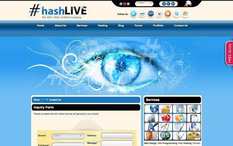 Screenshot of Contact Page hashlive.com - Hashlive | Contact Us - captured Sept. 29, 2014