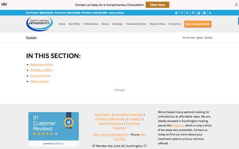 Screenshot of Contact Page teamdemas.com - Contact - captured Oct. 23, 2017