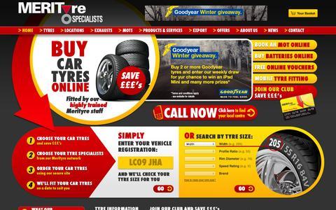 Screenshot of Home Page merityre.co.uk - Buy Tyres Online | Car Tyres | Cheap Tyres Online | Merityre - captured Oct. 6, 2014