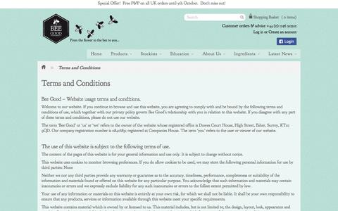 Screenshot of Terms Page beegood.co.uk - Terms and Conditions – Bee Good - captured Oct. 5, 2014