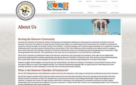 Screenshot of About Page hanovermachamber.com - About Us » Hanover Massachusetts Chamber of Commerce - captured Oct. 1, 2014