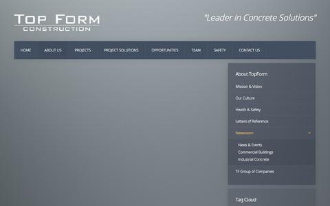 Screenshot of Press Page topform.ca - Top Form Construction - Concrete - Pre Cast - Newsroom - captured Oct. 7, 2014
