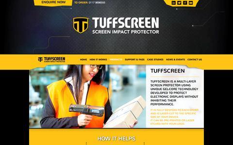 Screenshot of Products Page tuffscreen.com - Products - Tuffscreen - captured Oct. 7, 2014