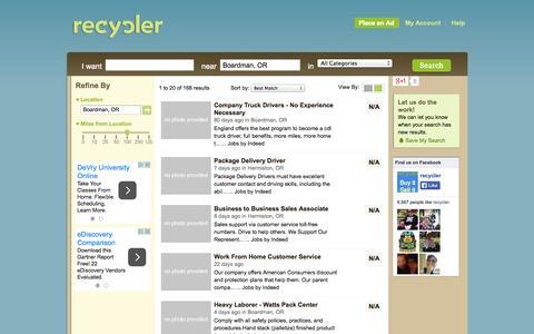 Screenshot of Support Page recycler.com - Boardman Customer Service Jobs   Boardman Job Listings - captured Oct. 29, 2014