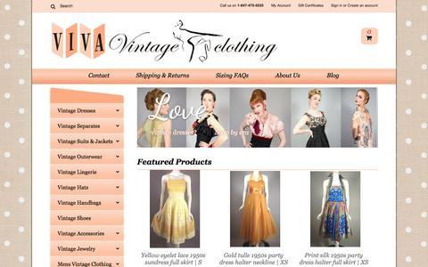 Screenshot of Home Page vivavintageclothing.com - Authentic Vintage Dresses and Accessories Online - Viva Vintage Clothing - captured June 15, 2016
