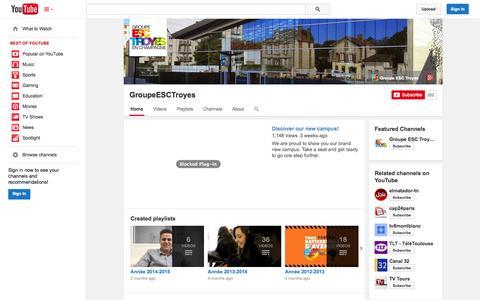 Screenshot of YouTube Page youtube.com - GroupeESCTroyes  - YouTube - captured Nov. 2, 2014