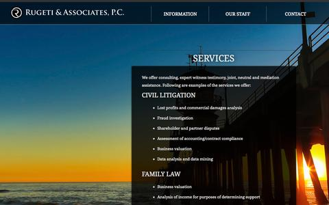 Screenshot of Services Page rugeti.com - Rugeti & Associates   | Services - captured Oct. 9, 2014