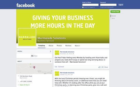 Screenshot of Facebook Page facebook.com - Marmalade Solutions - Business Services | Facebook - captured Oct. 27, 2014
