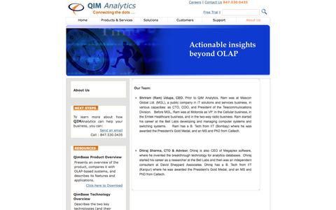 Screenshot of About Page qimanalytics.com - The Information Management & Analytics (IMA) appliance company - captured Dec. 6, 2015