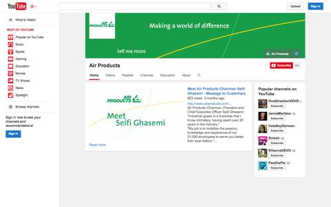 Screenshot of YouTube Page youtube.com - Air Products  - YouTube - captured Oct. 25, 2014