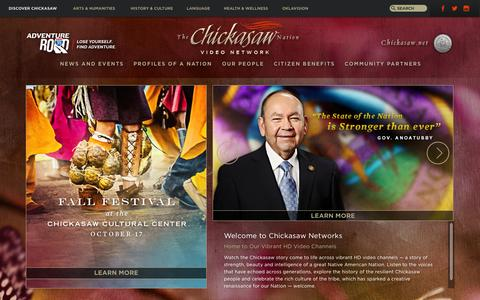 Screenshot of Home Page chickasaw.tv - CHICKASAW.TV - captured Oct. 8, 2015