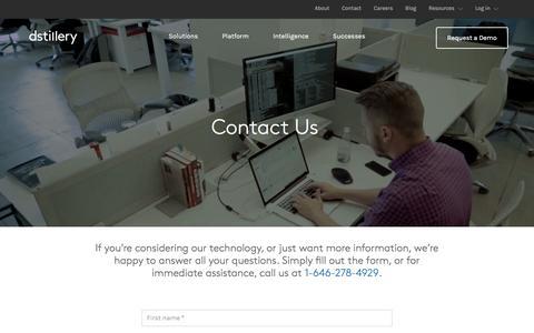 Screenshot of Contact Page dstillery.com - Contact | - captured Jan. 20, 2016