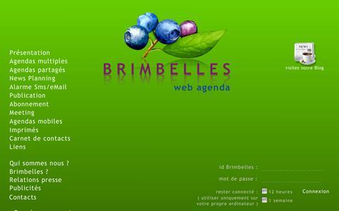 Screenshot of Home Page brimbelles.com - BRIMBELLES agenda - captured Sept. 4, 2015