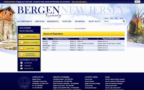 Screenshot of Hours Page bergen.nj.us - Bergen County, NJ - Official Website - Hours of Operation - captured Oct. 5, 2014