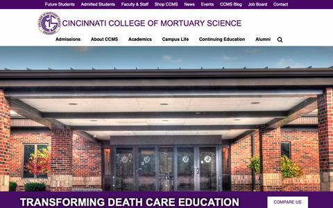 Screenshot of Home Page ccms.edu - Cincinnati College of Mortuary Science | Top Mortuary Science School - captured Sept. 28, 2018