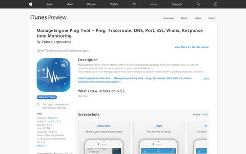 ManageEngine Ping Tool - Ping, Traceroute, DNS, Port, SSL, Whois, Response time Monitoring on the App Store