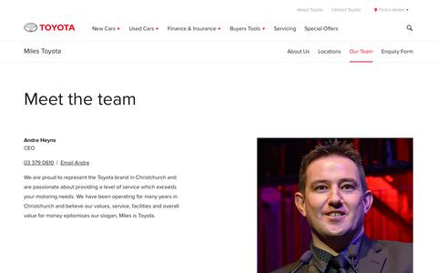 Screenshot of Team Page toyota.co.nz - Miles Toyota Christchurch | Meet the team - Toyota NZ - captured Nov. 14, 2017