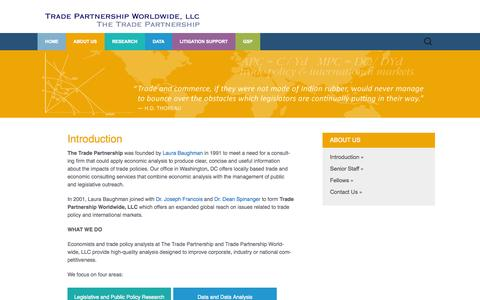 Screenshot of About Page tradepartnership.com - Introduction | TRADE PARTNERSHIP WORLDWIDE, LLC - captured Oct. 6, 2014