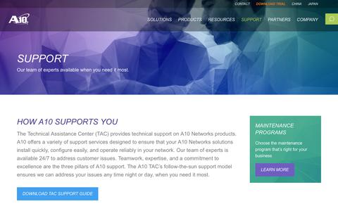 Screenshot of Support Page a10networks.com - A10 Product Support - captured Feb. 28, 2018