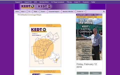 Screenshot of Maps & Directions Page kedt.org - TV & Radio Coverage Maps | KEDT - captured Feb. 12, 2016
