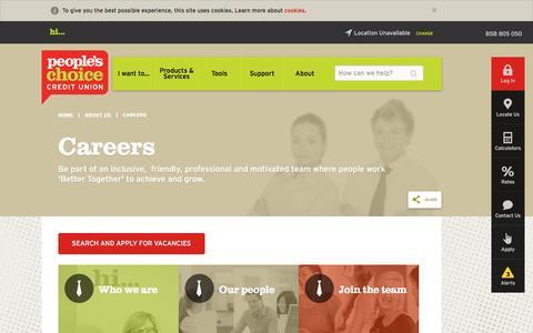 Screenshot of Jobs Page peopleschoicecu.com.au - Careers | People's Choice Credit Union - captured Jan. 27, 2016