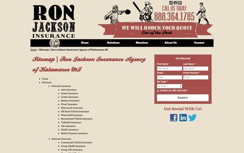 Screenshot of Site Map Page ronjacksonins.com - Sitemap | Ron Jackson Insurance Agency of Kalamazoo MI - captured Oct. 6, 2014