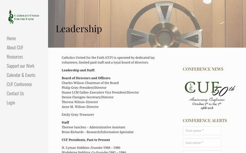 Screenshot of Team Page cuf.org - Leadership | Catholics United for the Faith - captured July 15, 2018