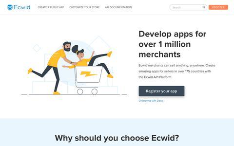 Screenshot of Developers Page ecwid.com - Ecwid Developers | Build an e-commerce app for Ecwid merchants - captured March 20, 2019
