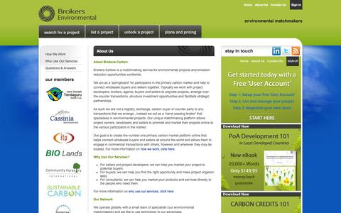 Screenshot of About Page brokerscarbon.com - About Us | Brokers Carbon - Carbon credits, carbon offsets, environmental projects - captured Sept. 30, 2014