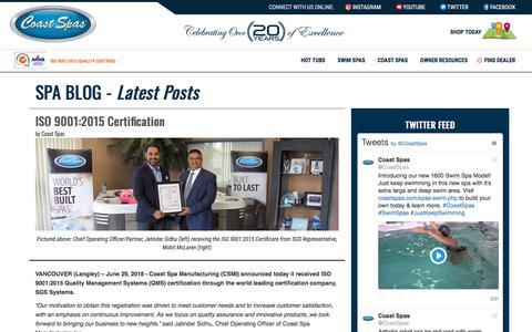 Screenshot of Blog coastspas.com - Hot Tubs | Swim Spas | Coast Spas Hot Tubs - captured July 18, 2019