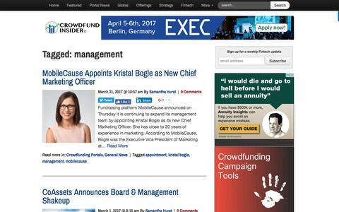 Screenshot of Team Page crowdfundinsider.com - management Archives - Crowdfund Insider - captured April 1, 2017