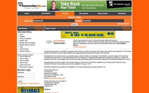 Screenshot of Privacy Page constructionjobs.com - Privacy Policy | ConstructionJobs.com - captured Sept. 22, 2014