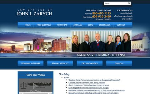 Screenshot of Site Map Page johnzarych.com - Site Map | Law Offices of John J. Zarych | Northfield, Cape May Court House - captured Oct. 2, 2014